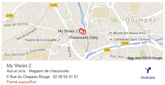 Magasin chaussures Google Map
