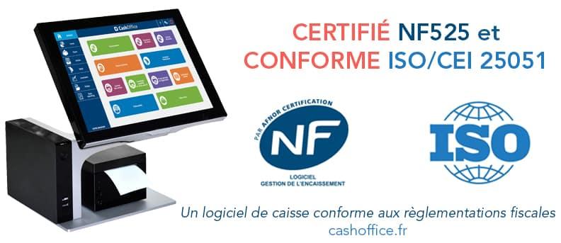 CashOffice est certifié NF525 et conforme à la norme qualité ISO/CEI 25051 !!!